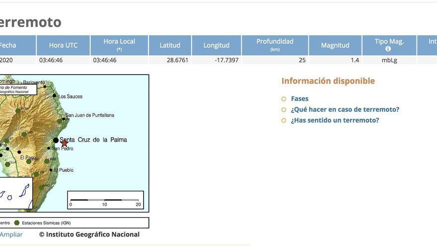 Datos del  IGN del pequeño terremoto registrado en la madrugada de este domingo frente a la costa de Santa Cruz de La Palma.