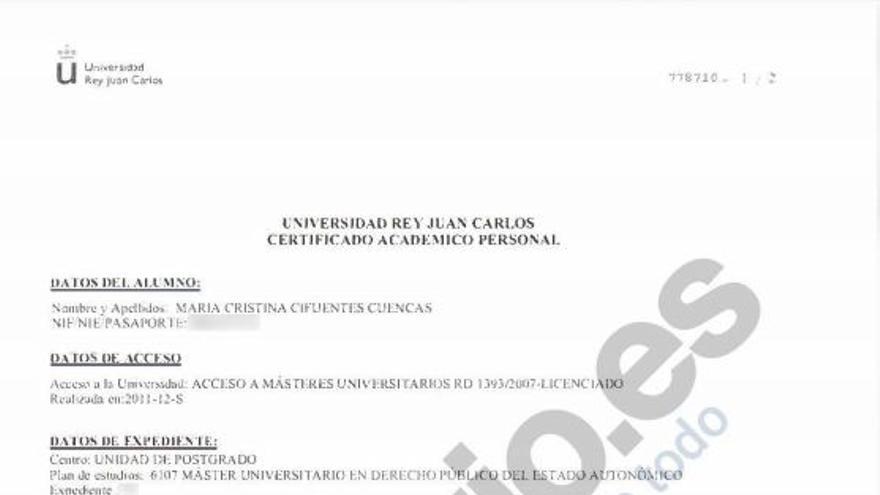 Certificado académico aportado por Cifuentes