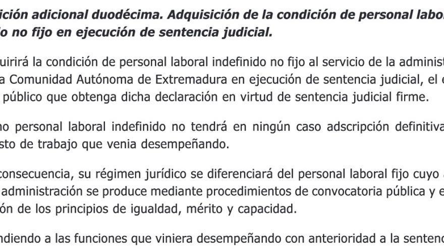 """La Ley de Presupuestos de Extremadura de 2015 recoge que solo se pueden nombrar a trabajadores indefinidos """"en virtud de sentencia judicial firme"""""""