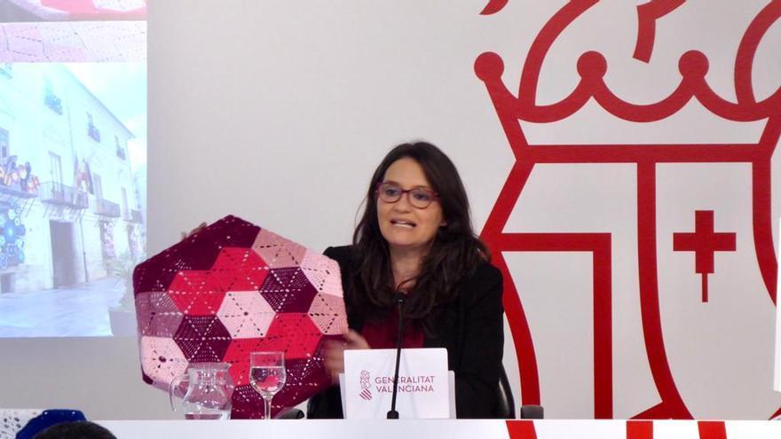 La vicepresidenta valenciana, Mónica Oltra, durante la rueda de prensa posterior al Consell.