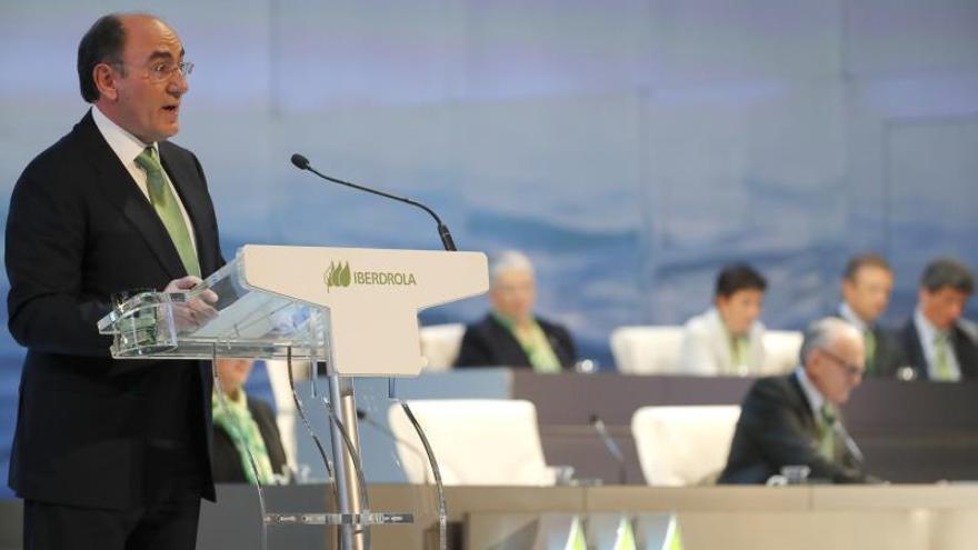 El presidente de Iberdrola, Ignacio Sánchez Galán, en la apertura de la Junta de Accionistas de la compañía eléctrica.