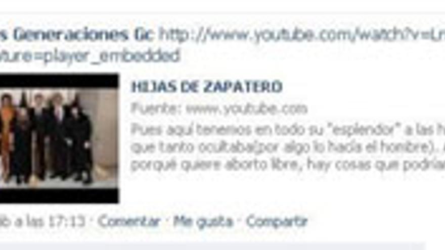 Captura de la entrada de Facebook de Nuevas Generaciones del PP en Gran Canaria.