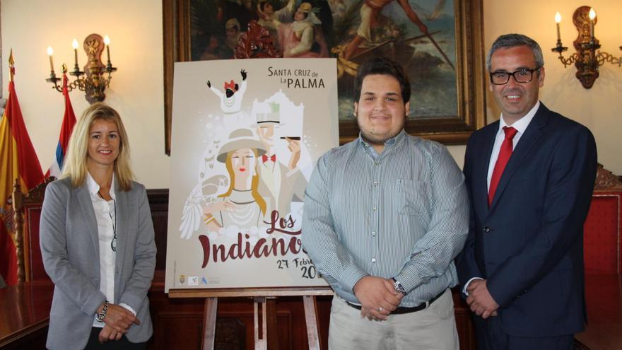 El autor del cartel, Abián Lázaro Calero, con el alcalde de Santa Cruz de La Palma, Sergio Matos (d), y la concejal de Fiestas,Virginia Espinosa.