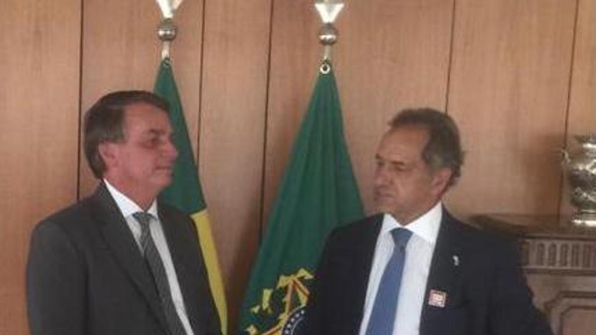 El presidente Bolsonaro recibió este miércoles al embajador Scioli