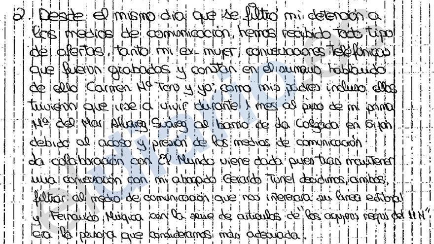 Fragmento de la carta de Trashorras en la que admite que colaboró con El Mundo por interés