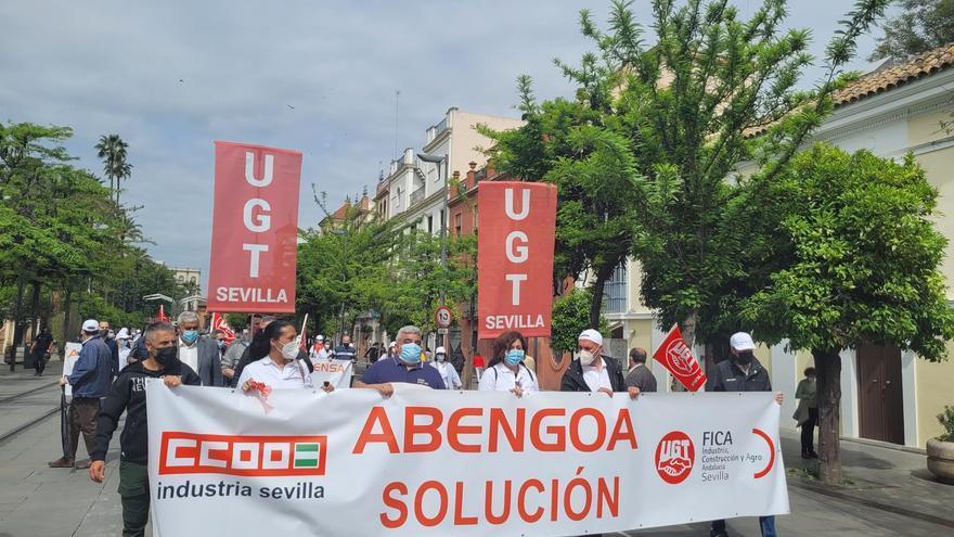 Manifestación en Sevilla de trabajadores de Abengoa.