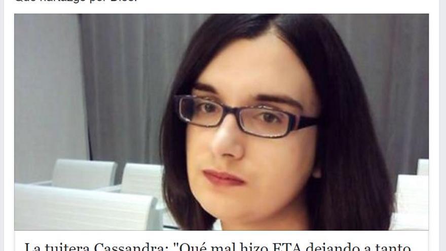 Comentario en Facebook sobre Cassandra de Amparo Ciscar, concejal del PP en Paiporta (Valencia).