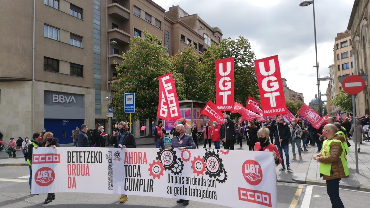 Manifestación de UGT y CCOO en Pamplona por el 1º de Mayo