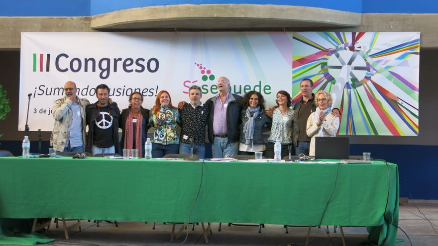 La Coordinadora Canaria de Sí Se Puede, con miembros de Tenerife, La Gomera, La Palma, Gran Canaria y Fuerteventura (falta José Miguel Trujillo)