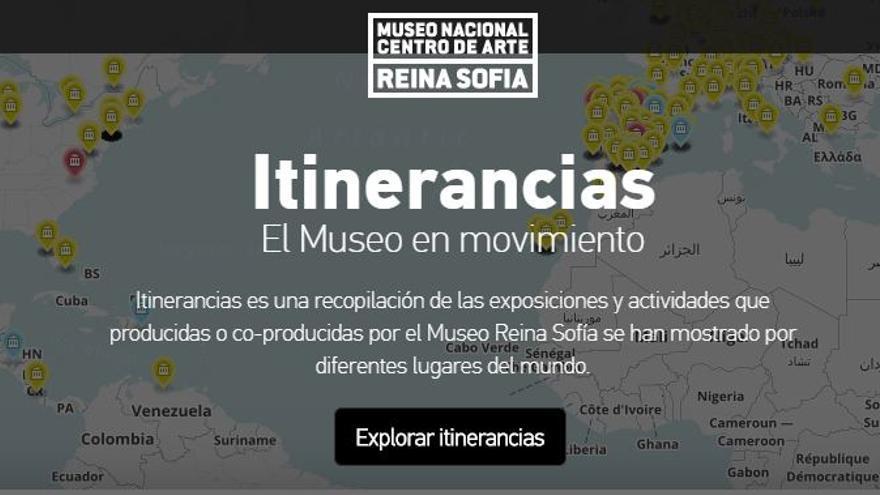 Captura de pantalla de Itinerancias, una recopilación de las exposiciones y actividades producidas o coproducidas por la pinacoteca