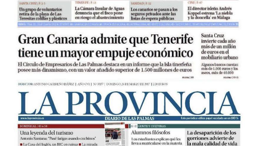 Portadas de 'La Opinión de Tenerife' del 20 de marzo y de 'La Provincia'  del 26.