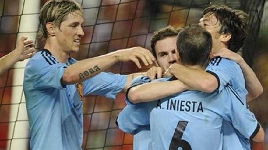 Silva celebra junto a sus compañeros el gol ante China (EUROPA PRESS).