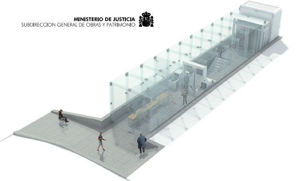 Simulación 3D de la cristalera de acceso de visitas a la Audiencia Nacional | Imagen: Ministerio de Justicia