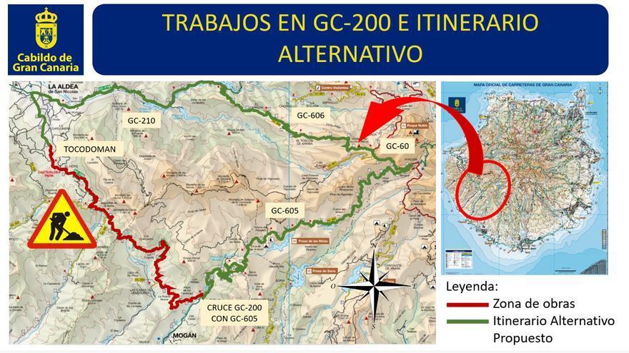 El Cabildo grancanario inicia el reasfaltado de la carretera de Mogán a La Aldea.