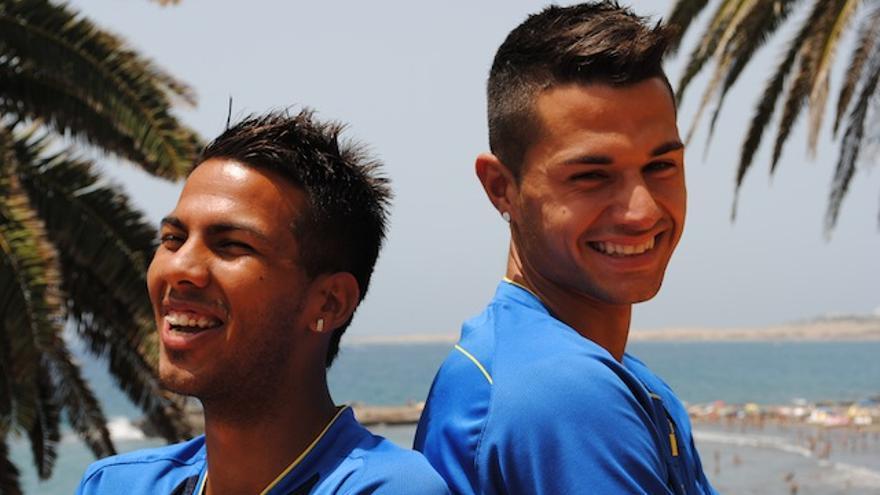 Viera y Vitolo posando en la pretemporada de la UD Las Palmas.