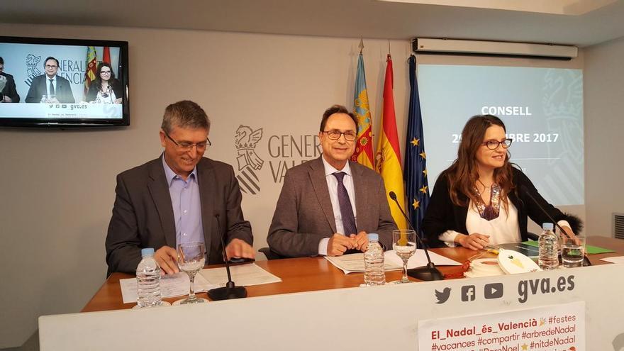 Los consellers Rafael Climent (Industria) y Vicent Soler (Economía) junto a la vicepresidenta Mónica Oltra