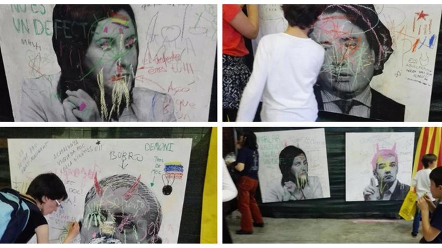 Algunas de las fotos de responsables del Consell y el Gobierno objeto de las pintadas / @NNGG_CV