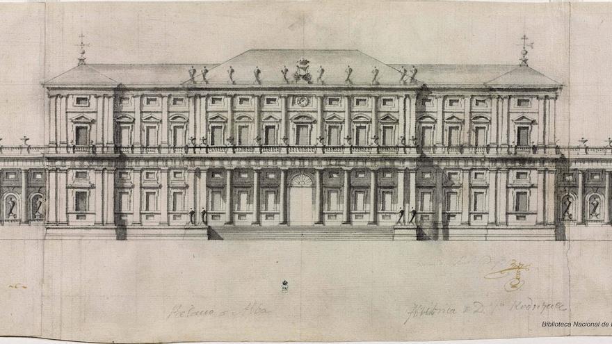 Proyecto Alzado de la fachada del proyecto no construido para el Palacio de Liria, dentro del barroco clasicista por Ventura Rodríguez (1740-1745)
