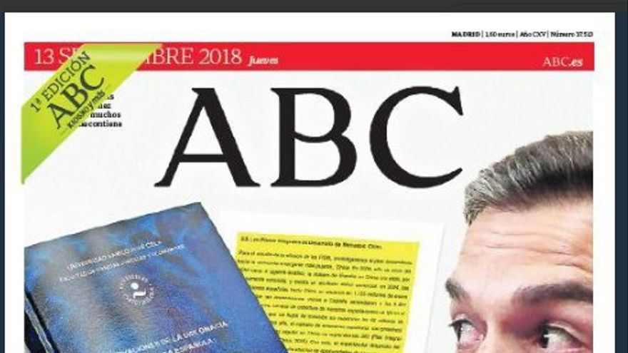 ABC, portada acusatoria contra Pedro Sánchez