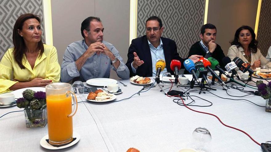 El portavoz del PP en el Cabildo de Gran Canaria, Felipe Afonso El Jaber (c), y los consejeros María del Carmen Rosario (i), Carlos Antonio Ester (2i), Lucas Bravo de Laguna (2d) y Ana Kurson (d).