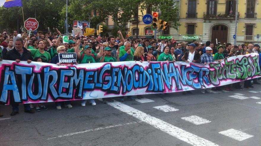 La capçalera de la manifestació al Passeig de Gràcia / João França