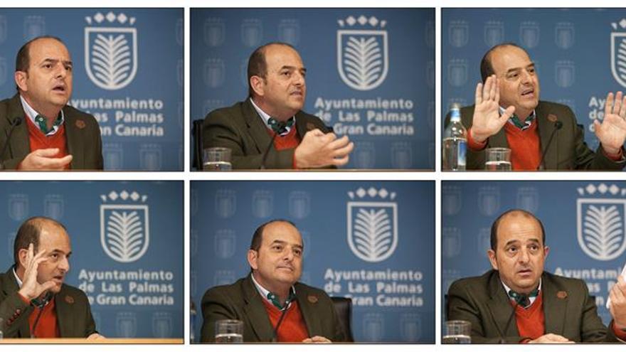 Combo de fotografías del alcalde de Las Palmas de Gran Canaria, Juan José Cardona, tras el acuerdo con los vecinos de Santa Catalina. EFE/Ángel Medina G.
