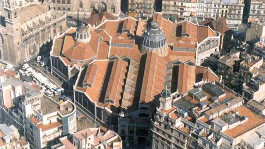 Vista aérea del Mercado Central desde la zona de Barón de Cárcer