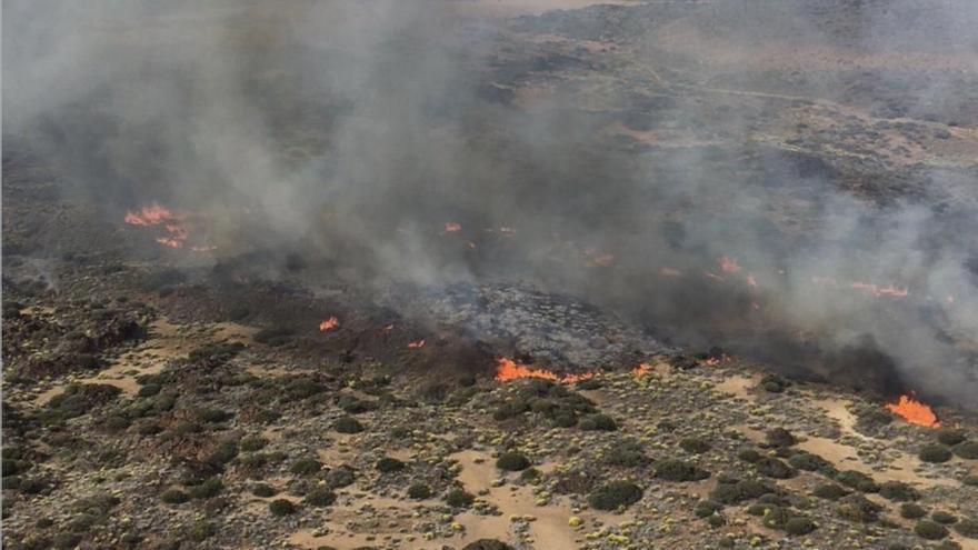 Área quemada en el incendio declarado en el Teide