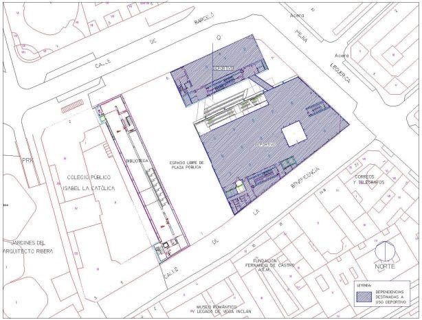 Localización de las dependencias deportivas de la planta +3 del futuro Centro Deportivo Municipal de Barceló | Plano: Ayuntamiento de Madrid
