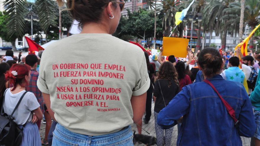 Manifestantes en Las Palmas de Gran Canaria