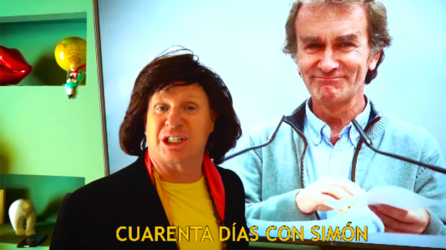 Jorge Cadaval, disfrazado de Camilo Sesto durante su parodia sobre el confinamiento