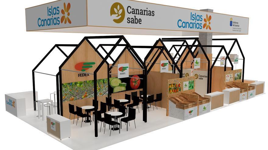 Espacio que Fedex ocupará en el pabellón canario dentro de la feria madrileña de hortalizas