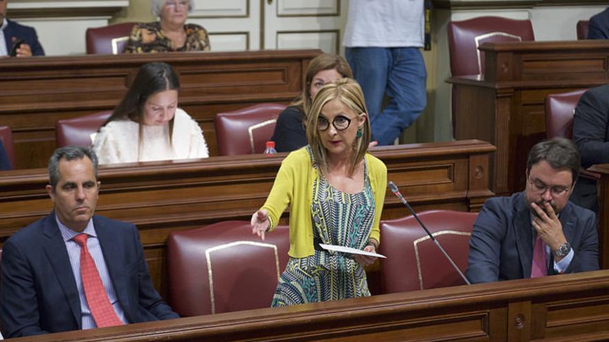 Maria Australia Navarro y Asier Antona en el Parlamento de Canarias.