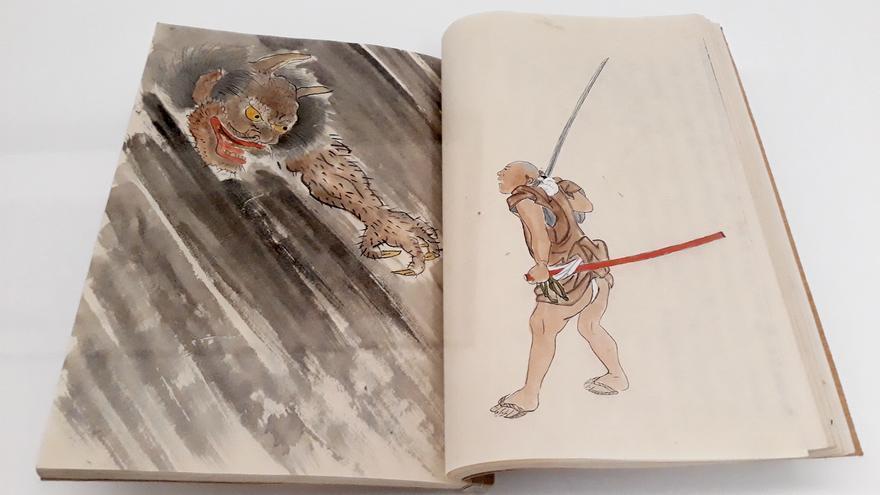 Relato del sueño de Oishi Hyoroku. Periodo Edo (s.XVIII al s.XIX). Un samurai pelea contra un tengu, un demonio del folclore japonés que incluso se ha convertido en emoticono