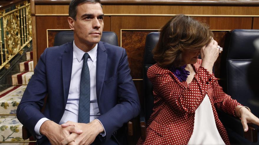 El presidente y la vicepresidenta del Gobierno en funciones Pedro Sánchez y Carmen Calvo.