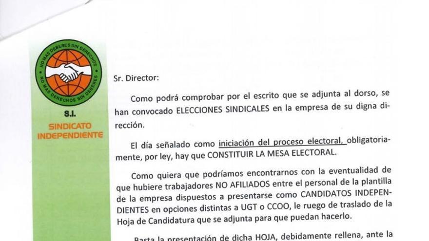Carta remitida por el Sindicato Independiente