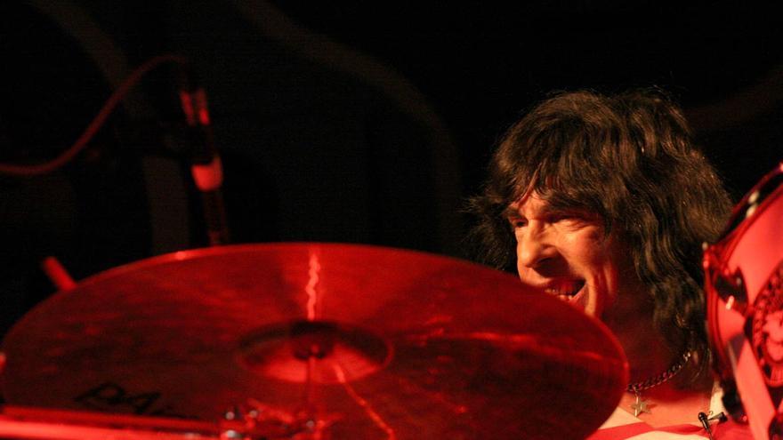 Marky Ramone durante su concierto en Sesué (Huesca).