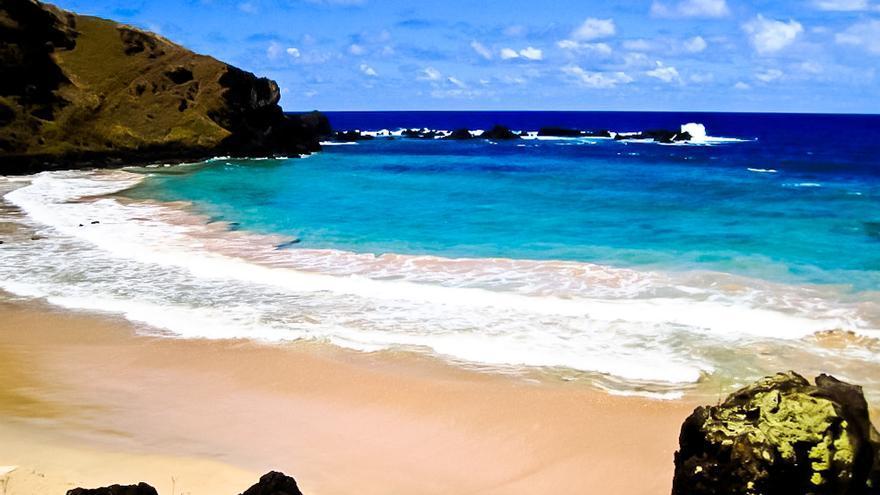 Playa de Ohave, en la costa norte de la Isla de Pascua.