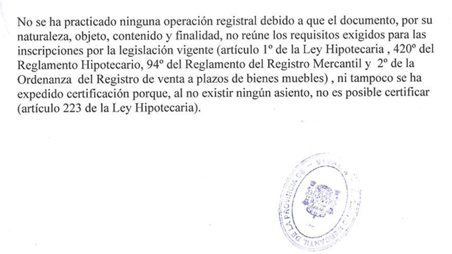 Escrito del Registro de la Propiedad de Bilbao que explica los motivos que impiden completar la inscripción