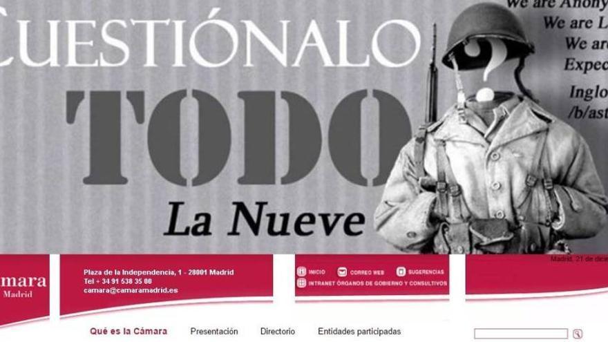 Cabecera de la web de la Cámara de Comercio de Madrid, el miércoles noche