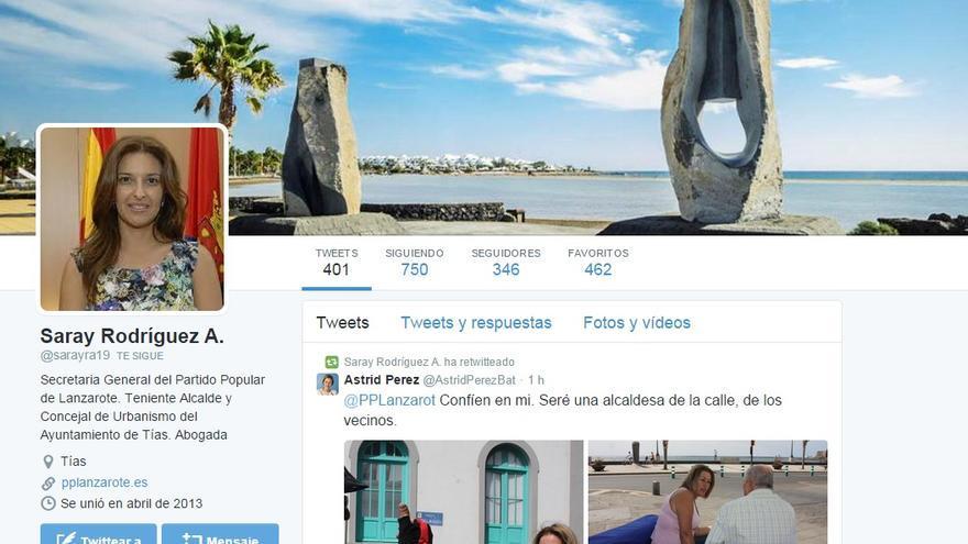 Pantallazo de la cuenta de Twitter de Saray Rodríguez.