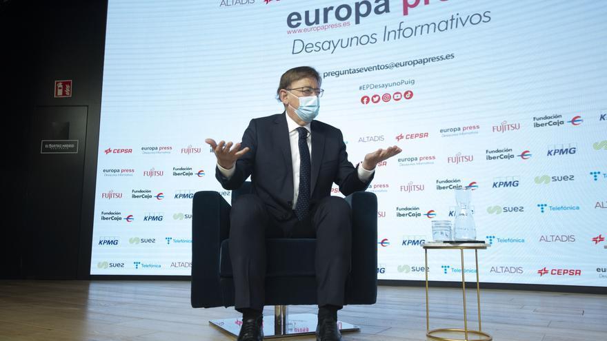 El presidente de la Generalitat valenciana, Ximo Puig, interviene en un Desayuno Informativo de Europa Press en el Auditorio El Beatriz Madrid, a 21 de julio de 2021, en Madrid (España).