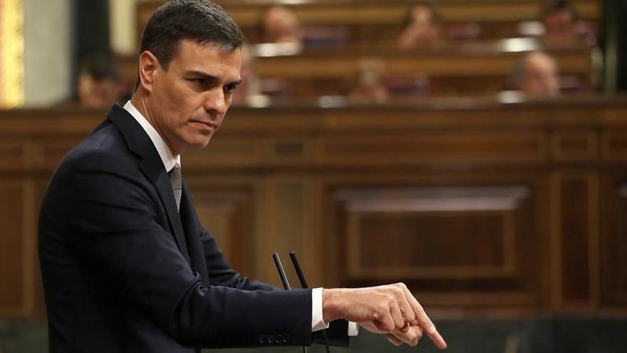 El secretario general del PSOE, Pedro Sánchez, en el Congreso defendiendo la moción de censura.