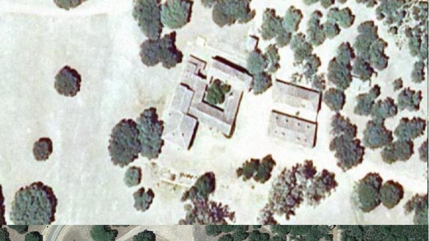 """Antes y después de las obras de """"restauración"""" según el visor del Fega y Google maps."""