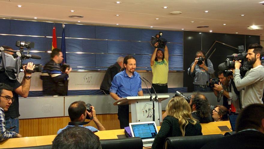 Pablo Iglesias, tras su audiencia con el rey.