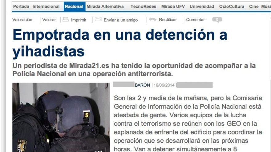 Captura del reportaje publicado en Mirada21.es