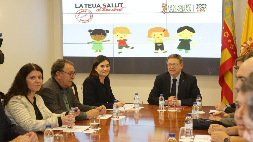 Carmen Montón y Ximo Puig, en la presentación de la retirada del copago de los fármacos para menores.