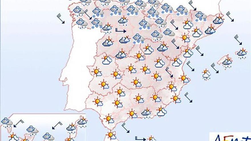 Hoy, lluvias y nieve en cotas bajas de noreste y centro peninsular