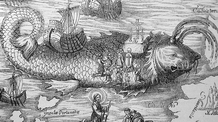 Ilustración antigua en la que se hace mención a Canarias y San Borondón.