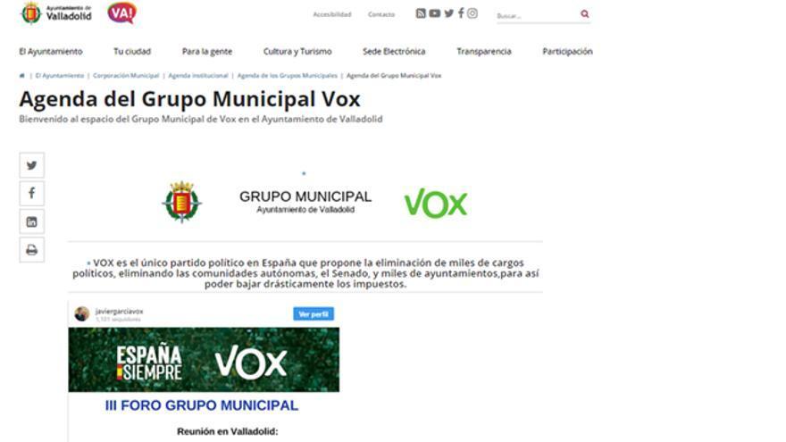 Captura de pantalla de la web municipal de Valladolid.